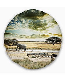"Wild African Zebras and Elephant African Throw Pillow - 16"" Round"