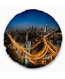 "Designart Highway and Main Traffic Bangkok Cityscape Throw Pillow - 20"" Round"
