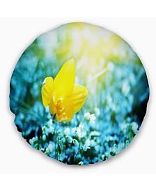 "Designart Beautiful Yellow Spring Flower Floral Throw Pillow - 20"" Round"