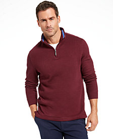 Club Room Men's Quarter Zip French Rib Pullover Sweater, Created for Macy's