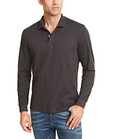 Men's Long-Sleeve Heathered Polo Shirt, Created for Macy's