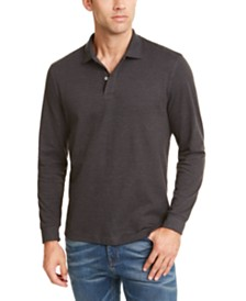 Club Room Men's Long-Sleeve Heathered Polo Shirt, Created for Macy's