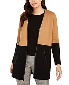 Petite Faux-Leather-Trim Colorblock Cardigan, Created For Macy's