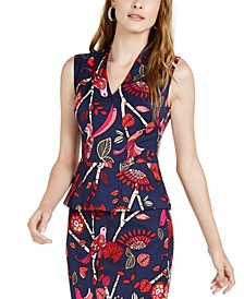 Merlot Printed Peplum Sleeveless Top