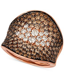 Le Vian Chocolate & Nude Chocolate Souffle™ Chocolate Diamond (2-5/8 ct. t.w.) & Nude Diamond (3/8 ct. t.w.) Statement Ring in 14k Rose Gold