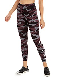 Camo Printed Logo High-Waist Ankle Leggings