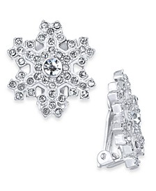 Silver-Tone Crystal Snowflake Clip-On Stud Earrings, Created For Macy's