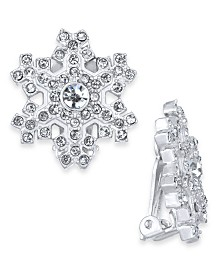 Holiday Lane Silver-Tone Crystal Snowflake Clip-On Stud Earrings, Created For Macy's