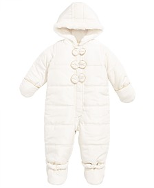 First Impressions Baby Girls Bow Trim Snowsuit, Created for Macy's