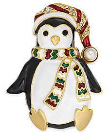 Gold-Tone Pavé & Imitation Pearl Penguin Pin, Created for Macy's