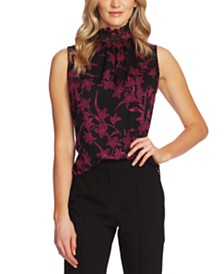 Vince Camuto Printed Ruffled-Neck Blouse