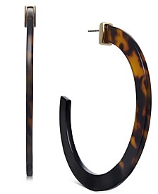 INC Gold-Tone Animal-Print Large Hoop Earrings, Created for Macy's