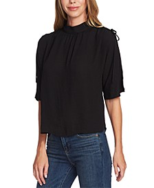 Textured Mock-Neck Blouson Top