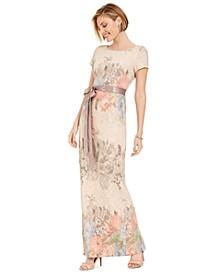 Floral-Print Column Gown