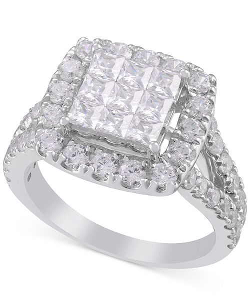 Macy's Diamond Square Cluster Halo Engagement Ring (2-1/2 ct. t.w.) in 14k White Gold