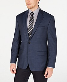 Men's Classic-Fit UltraFlex Stretch Blue Mini-Check Sport Coat