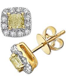 White & Yellow Diamond Stud Earrings (1-3/8 ct. t.w.) in 14k Gold