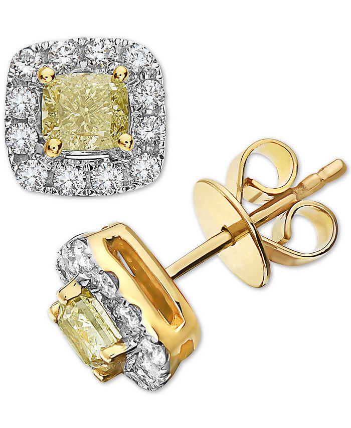 Macy's - White & Yellow Diamond Stud Earrings (1-3/8 ct. t.w.) in 14k Gold