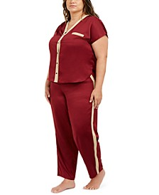 I.N.C. Plus Size Metallic-Trim Pajama Set, Created For Macy's