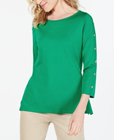 Charter Club Supima® Cotton Embellished Top, Created for Macy's