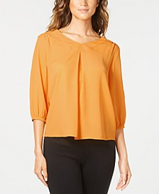 Petite Pintucked 3/4-Sleeve Top