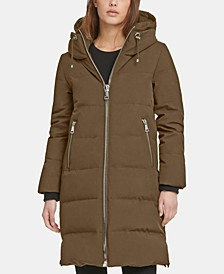 Zip Front Hooded Down Puffer Coat