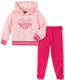 Little Girls Ruffled Hoodie & Striped Jogger Pants Set