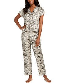INC Women's Printed Matte Satin Pajama Set, Created For Macy's