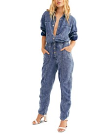 Free People Ari Striped Cotton Coveralls
