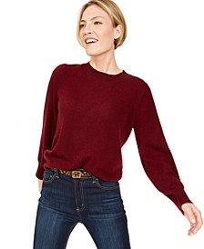 Pure Cashmere Blouson-Sleeve Sweater, Regular & Petite Sizes, Created for Macy's