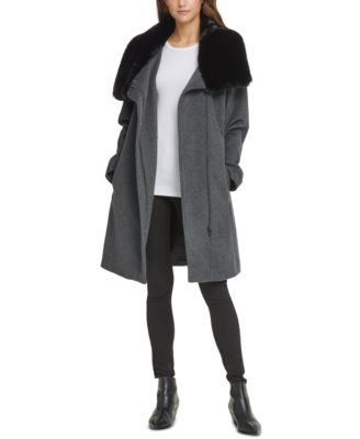 Asymmetrical Faux-Fur-Collar Coat