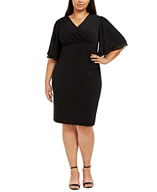 Plus Size Flutter-Sleeve Sheath Dress