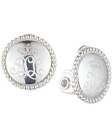 Lauren Ralph Lauren Logo Clip-On Button Earrings