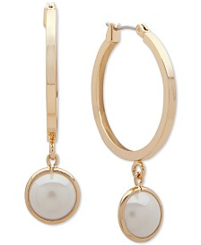 Lauren Ralph Lauren Small Gold-Tone & Imitation Pearl Hoop Earrings 1""
