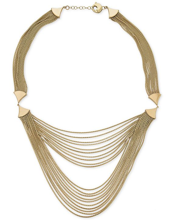"""Italian Gold Multi-Strand Statement Necklace in 14k Gold, 17"""" + 1"""" extender"""