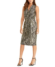 RACHEL Rachel Roy Animal-Print V-Neck Dress