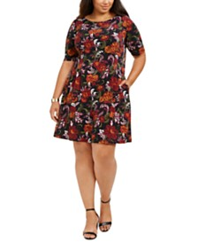 Connected Plus Size Floral-Print Fit & Flare Dress