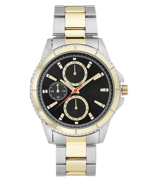 INC International Concepts INC Men's Two-Tone Bracelet Watch 44mm, Created for Macy's
