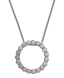 "FJ Kashi Certified Diamond Open Circle Pendant Necklace (1-1/2 ct. t.w.) in 14k White Gold, 16"" + 2"" extender"