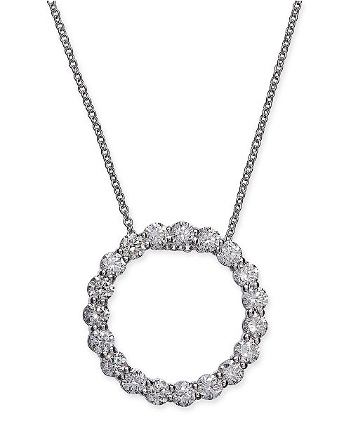 """Macy's Certified Diamond Open Circle Pendant Necklace (1-1/2 ct. t.w.) in 14k White Gold, 16"""" + 2"""" extender"""