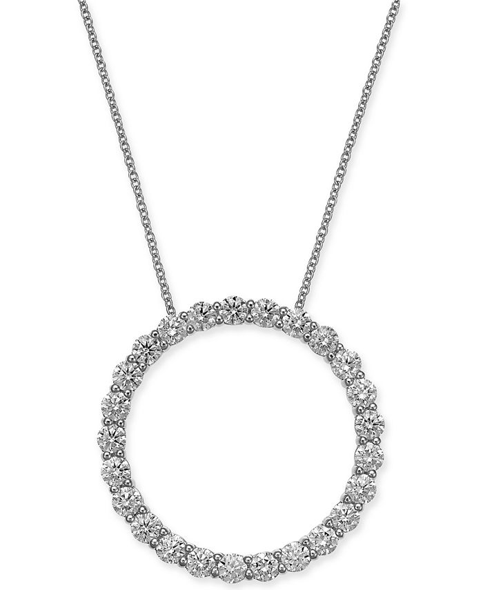 """Macy's - Certified Diamond Open Circle Pendant Necklace (2 ct. t.w.) in 14k White Gold, 16"""" + 2"""" extender"""