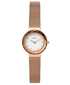 Skagen Women's Leonora Rose Gold-Tone Stainless Steel Mesh Bracelet Watch 25mm