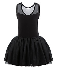 Little & Big Girls Sparkle-Mesh Tank Leotard Dress