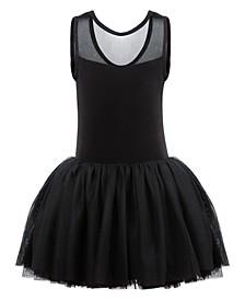 Little & Big Girls Sparkle-Mesh Tank Leotard Dress