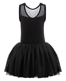 Flo Dancewear Little & Big Girls Sparkle-Mesh Tank Leotard Dress