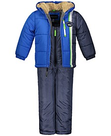 Toddler Boys Colorblocked Hooded Jacket & Snowbib Snowsuit