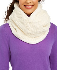 I.N.C. Cable-Knit Shine Loop Scarf With Faux-Sherpa Lining, Created For Macy's
