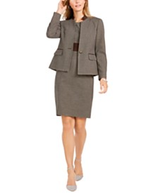 Kasper Houndstooth Jacket & Crewneck Sheath Dress
