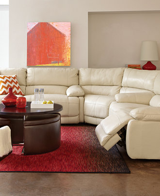 Nina Leather Sectional Living Room Furniture Collection