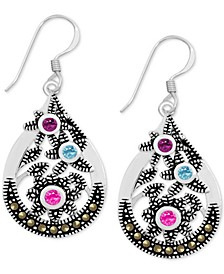 Genuine Swarovski Marcasite Multicolor Crystal Openwork Drop Earrings in Fine Silver-Plate